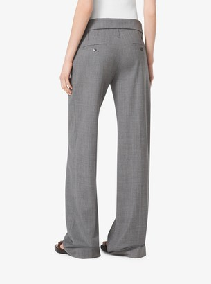 Michael Kors Fold-Over Stretch-Wool Trousers