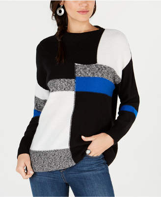 Style&Co. Style & Co Petite Colorblock Envelope Collar Sweater