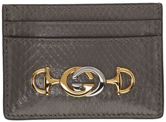 Gucci Grey Python Zumi Card Holder