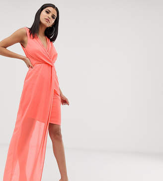 TFNC Tall Tall wrap front dress with asymmetric hem in coral