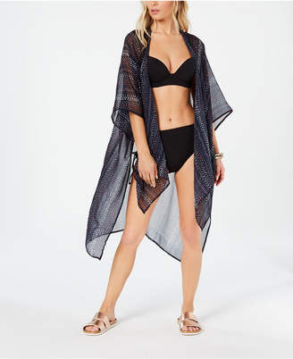 Rachel Roy Dot-Dash Printed Side-Slit Kimono Cover-Up Women Swimsuit