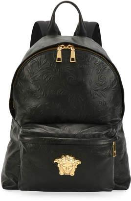 f6a63aad6f41 Versace Men s Embossed Leather Medusa Backpack