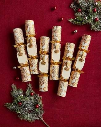 Robin Reed Gold and White Christmas Crackers with Crowns and Name Cards