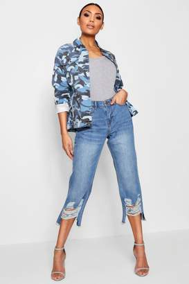boohoo Cropped Distressed Straight Leg Jeans