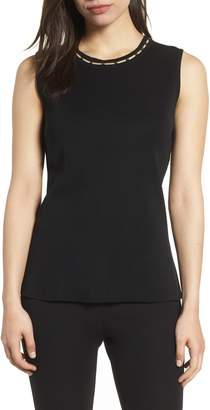 Ming Wang Beaded Neck Tank Top