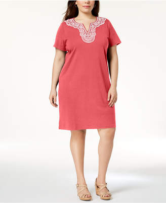 Karen Scott Plus Size Cotton Embellished Dress, Created for Macy's