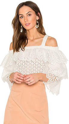 Endless Rose Cold Shoulder Top With Tiered Sleeves in White $98 thestylecure.com
