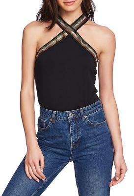 1 STATE 1.State Embroidered Cross-Neck Blouse