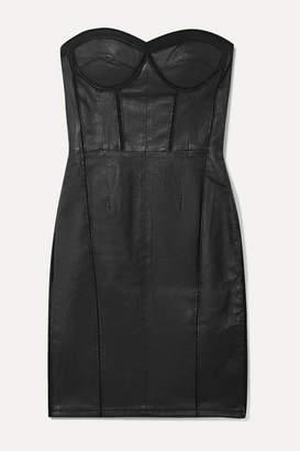 RtA Gwenyth Strapless Mesh-paneled Leather Mini Dress - Black