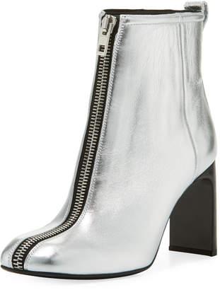 Ellis Zip-Front Ankle Boot, Silver