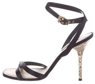 Louis Vuitton Satin Ankle Strap Sandals