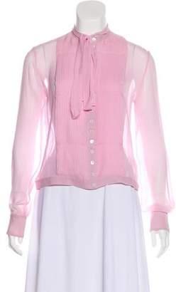 Calvin Klein Collection Silk Pleated Blouse