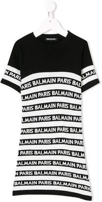 Balmain Kids logo panel T-shirt dress