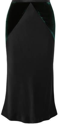 Haider Ackermann Two-tone Stretch-satin And Velvet Midi Skirt - Black