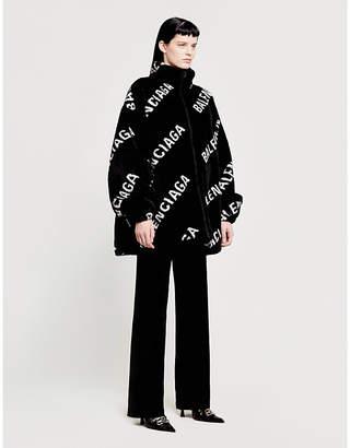 Balenciaga Logo-print oversized fleece jacket