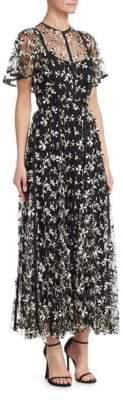 Lela Rose Embroidered Tulle Flutter-Sleeve A-Line Dress