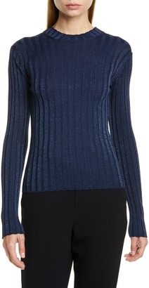 Vince Metallic Thread Ribbed Mock Neck Wool Blend Sweater