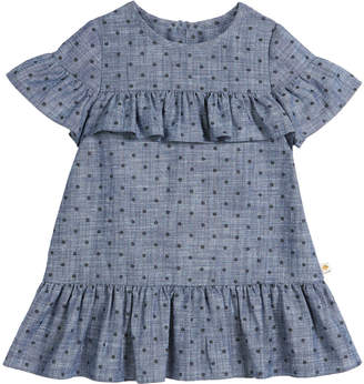 Kate Spade chambray polka-dot ruffle-trim dress, size 2-6x