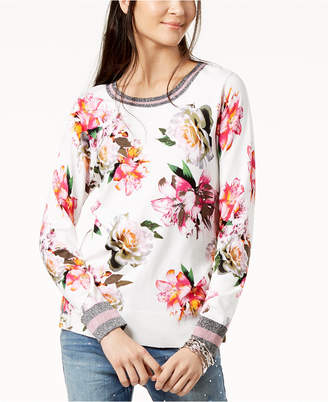 INC International Concepts I.n.c. Petite Floral-Print Sweater, Created for Macy's