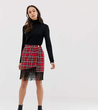 Asos Tall DESIGN Tall tartan mini wrap skirt with fringe hem