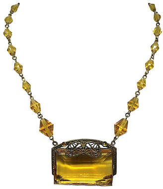 One Kings Lane Vintage 1920s Czech Topaz Glass Necklace - Little Treasures