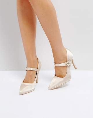 True Decadence Satin Pearl Detail May Jane Heeled Shoes