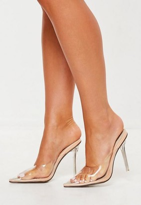 Missguided Nude Clear Toe Closed Mules