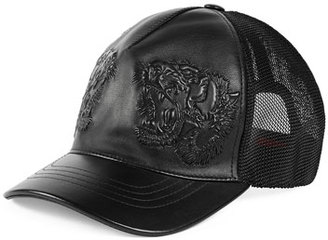 Gucci Tiger-Embossed Leather Baseball Hat, Black $560 thestylecure.com