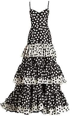 Carolina Herrera Women's Polka Dot Tiered Mermaid Gown