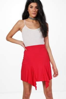 boohoo Lia Jersey Asymetric Hem Mini Skirt