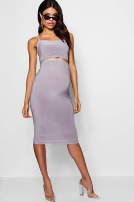 boohoo Maternity Slinky Strappy Crop & Midi Skirt