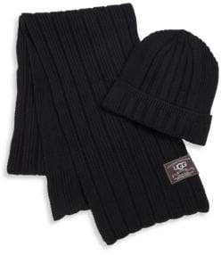 UGG Ribbed Cuff Hat& Scarf Set