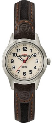 Timex Women's Expedition Metal Field Mini Watch, Brown Nylon/Leather Strap