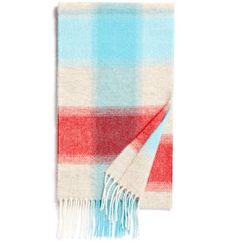 Johnstons of Elgin Aqua and Red Fancy Check Lambswool Scarf