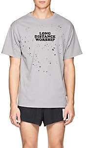 "Satisfy Men's ""Long Distance Worship"" Distressed Cotton T-Shirt - Gray"