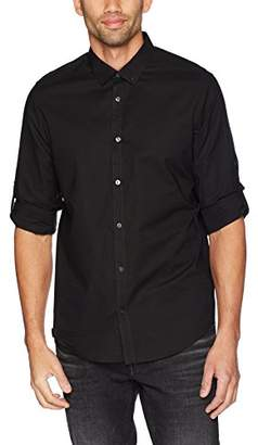 Calvin Klein Men's Big and Tall Long Sleeve Button Down Shirt Slub Stretch with Roll-Tab