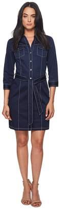 Badgley Mischka 3/4 Sleeve Shirtdress w/ Contrast Stitching Women's Dress