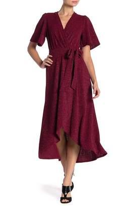 Donna Morgan Metallic Knit Faux Wrap Dress