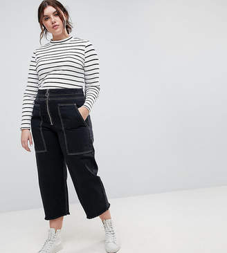 Asos DESIGN Curve wide leg utility jeans with big pockets and contract stitch in black