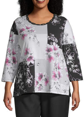 Alfred Dunner Floral Patchwork Tee - Plus