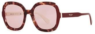 Prada Dark Red Oversized Sunglasses