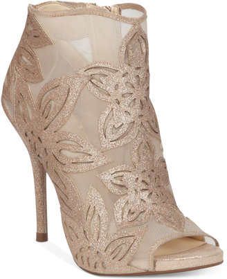Jessica Simpson Bliths Floral & Mesh Peep-Toe Ankle Booties $119 thestylecure.com