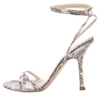 Jimmy Choo Embossed Ankle Strap Sandals