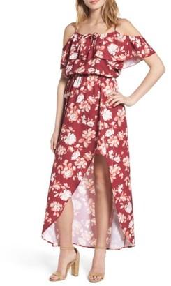 Women's Mimi Chica Cold Shoulder Asymmetrical Maxi Dress $55 thestylecure.com