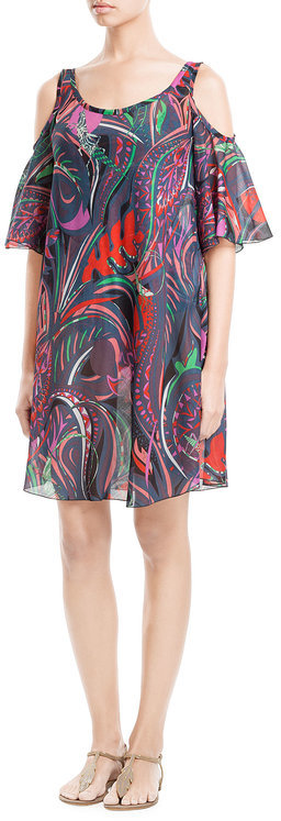 Emilio Pucci Emilio Pucci Printed Cotton Dress with Cutout Shoulders