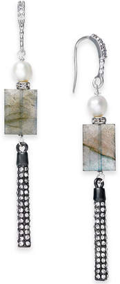 Paul & Pitu Naturally Two-Tone Pave, Gray Stone & Imitation Pearl Linear Drop Earrings