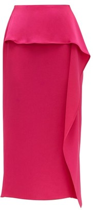 Rochas Papia Envers Ruffle Trim Satin Pencil Skirt - Womens - Fuchsia