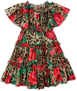 Dolce & Gabbana Rose & Leopard Print Cotton Poplin Dress