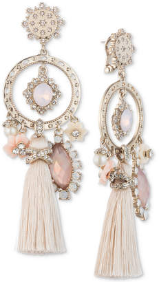 Marchesa Gold-Tone Stone, Pavé and Tassel Chandelier Earrings