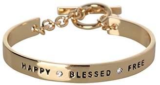 BCBGeneration BCBG Generation Silver Crystal Happy Blessed Free Cuff Bracelet